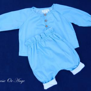 Doa 137 a ensemble bebe chemise pantalon bleu ciel sky blue baby set shirt trousers