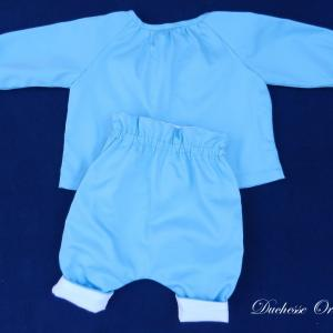 Doa 137 c ensemble bebe chemise pantalon bleu ciel sky blue baby set shirt trousers