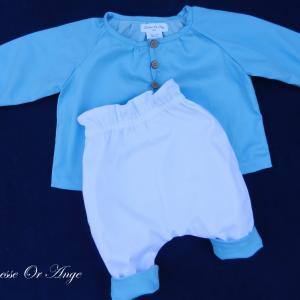 Doa 137 d ensemble bebe chemise pantalon bleu ciel sky blue baby set shirt trousers