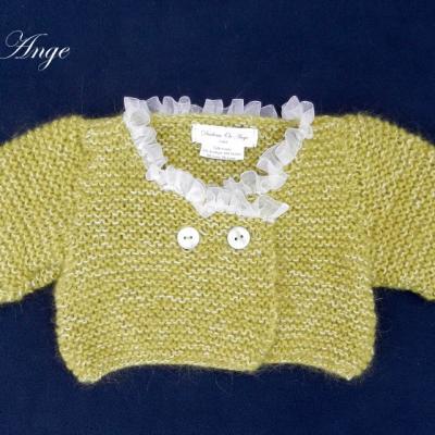 Gilet en tricot vert bordé d'organza blanc - 6 mois