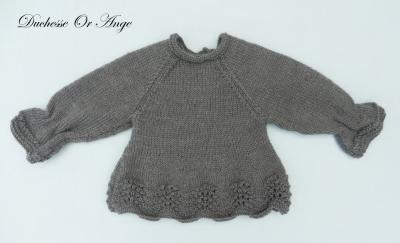 Anthracite grey knitted top with gathers at the wrists - 3 months old