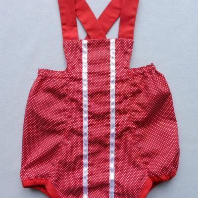 Bloomer en coton rouge à pois blanc - 12 mois