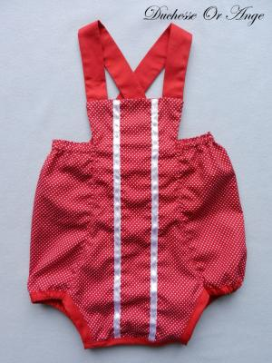 Red and white polka dots cotton romper suit - 12 months old