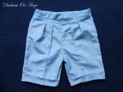 Sky blue velvet cotton bermuda shorts - 2 years old