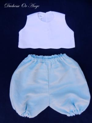White sleeveless top with boutis embroidery and ice blue bloomer set  - 3 months old