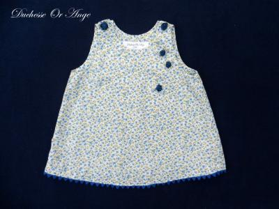 Blue and green floral cotton baby dress, navy buttons in the shape of roses - 6 months old
