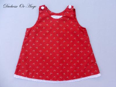 Red floral cotton baby dress, white buttons in the shape of roses - 6 months old