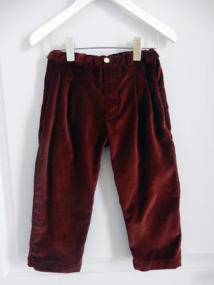 Plum cotton velvet trousers - 4 years old