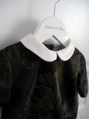 Chemise à col claudine en coton marron à motifs de roses - 12 mois