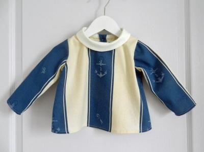 Cream and blue cotton shirt with anchors pattern and round collar - 12 months