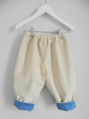 Off white velvet trousers lined in blue cotton - 12 months old