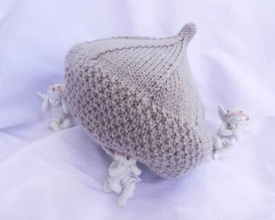 Bonnet en forme de bérêt en tricot gris clair - 18 mois