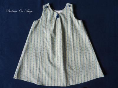 Robe fillette en coton jaune et bleu - 3 ans