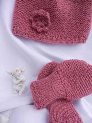 Antique pink wool knit hat and mittens with lace effect - 6 months old