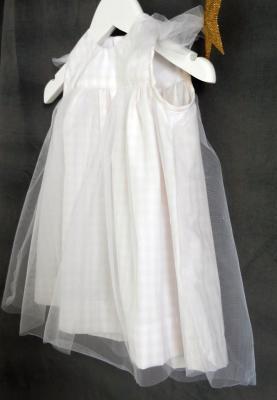Robe en coton vichy rose pâle et blanche recouverte de tulle souple - 18 mois