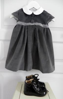 Charcoal grey velvet dress with white Peter Pan collar - 18 months