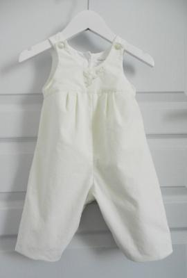 Off white velvet cotton overalls