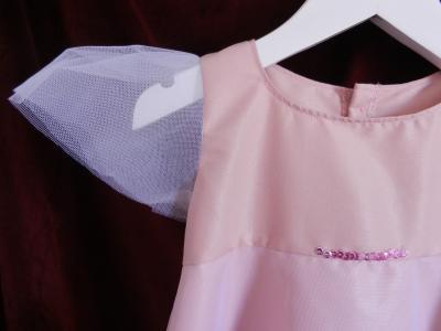 Robe de fée en coton rose et tulle blanc - 4 ans
