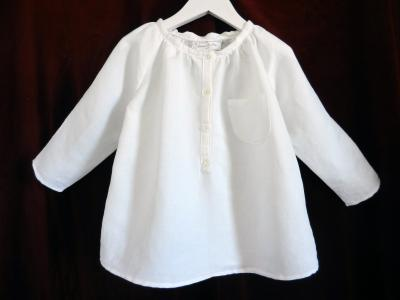 Gathered white linen shirt - 6 years old