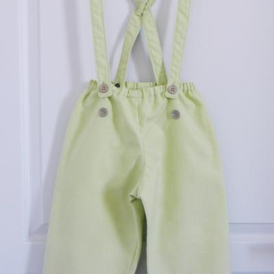 Pantalon à bretelles en coton vert anis - 6 ans