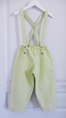 Anise green cotton trousers with suspenders - 6 years old