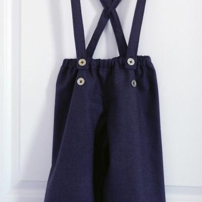 Pantalon à bretelles en lainage violet et noir - 4 ans