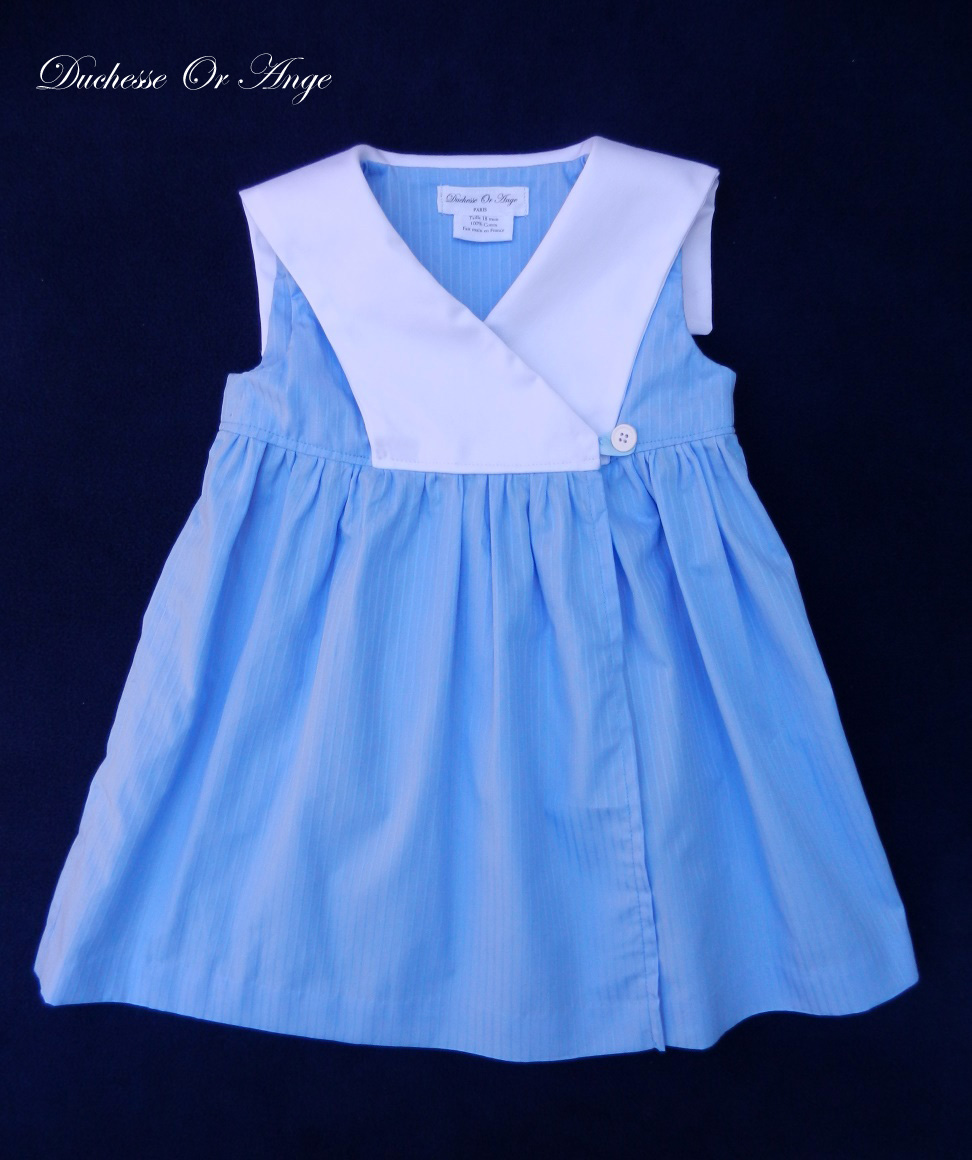 Blue Wrapover Baby Dress With White Sailor Collar