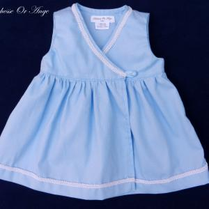 Doa 89 c robe bebe croisee bleu ciel sky blue baby wrapover dress