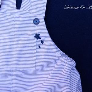 Doa 92 b barboteuse bebe rayures bleu blanc pinstripes white blue baby rompers