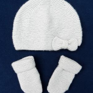 Doa 96 a bonnet et moufles gris perle