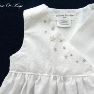 Doa 97 robe bebe blanche broderies etoiles argent white baby dress with silver star embroidery b