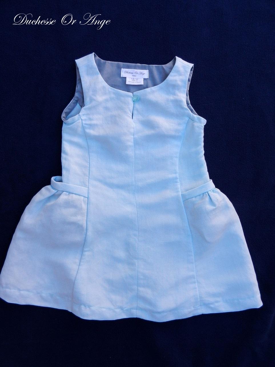 Doa 98 robe enfant lin bleu ciel sky blue linen child dress a