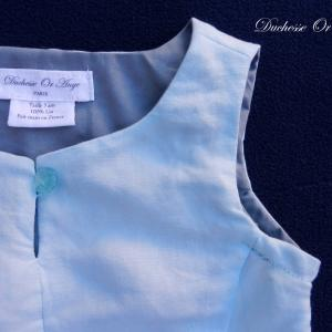 Doa 98 robe enfant lin bleu ciel sky blue linen child dress b