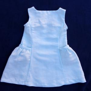 Doa 98 robe enfant lin bleu ciel sky blue linen child dress c