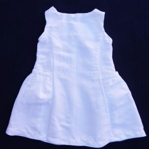 Doa 99 robe enfant lin blanc white linen child dress c