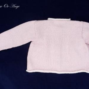 Doa c gilet bebe tricot rose pink baby pink cardigan 1