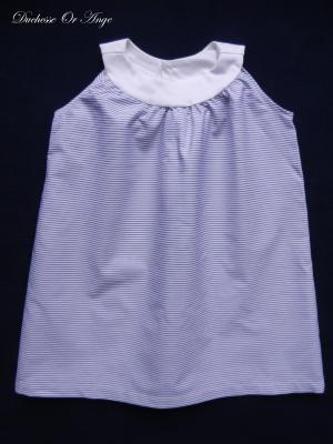 Robe à encolure ronde rayures bleues et blanches - 2 ans