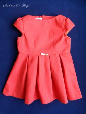 Red orange linen short sleeves dress- 4 years old