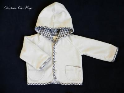 Hooded grey viscose baby jacket - 12 months old