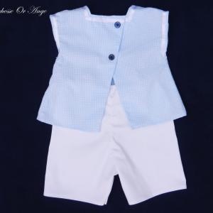 Doa 84 b ensemble b b bleu et blanc blue and white baby top and short set