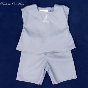 Doa 85 a ensemble b b gris grey baby top and short set