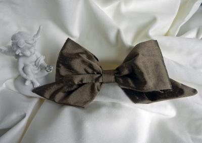 Brown silk hair bow on pin