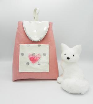 Doaa 85 sac a dos maternelle rose pois argent et coeur paillettes roses a