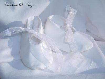 Chaussures bébé en satin de coton blanc - 3/6 mois