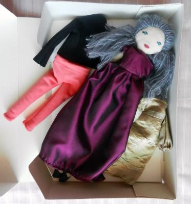 Grey blue hair fabric doll set with 3 outfits, burgundy dress