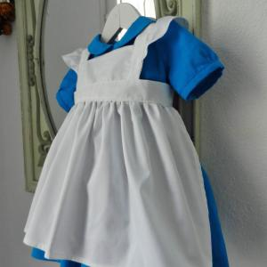 Duchesse or ange 190 robe bleue alice tablier blanc jupon blue dress white apron petticoat e