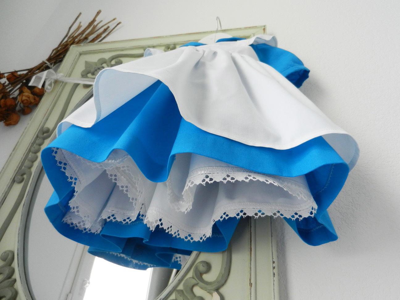 Duchesse or ange 190 robe bleue alice tablier blanc jupon blue dress white apron petticoat g