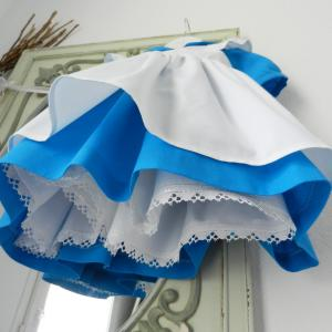 Duchesse or ange 190 robe bleue alice tablier blanc jupon blue dress white apron petticoat g