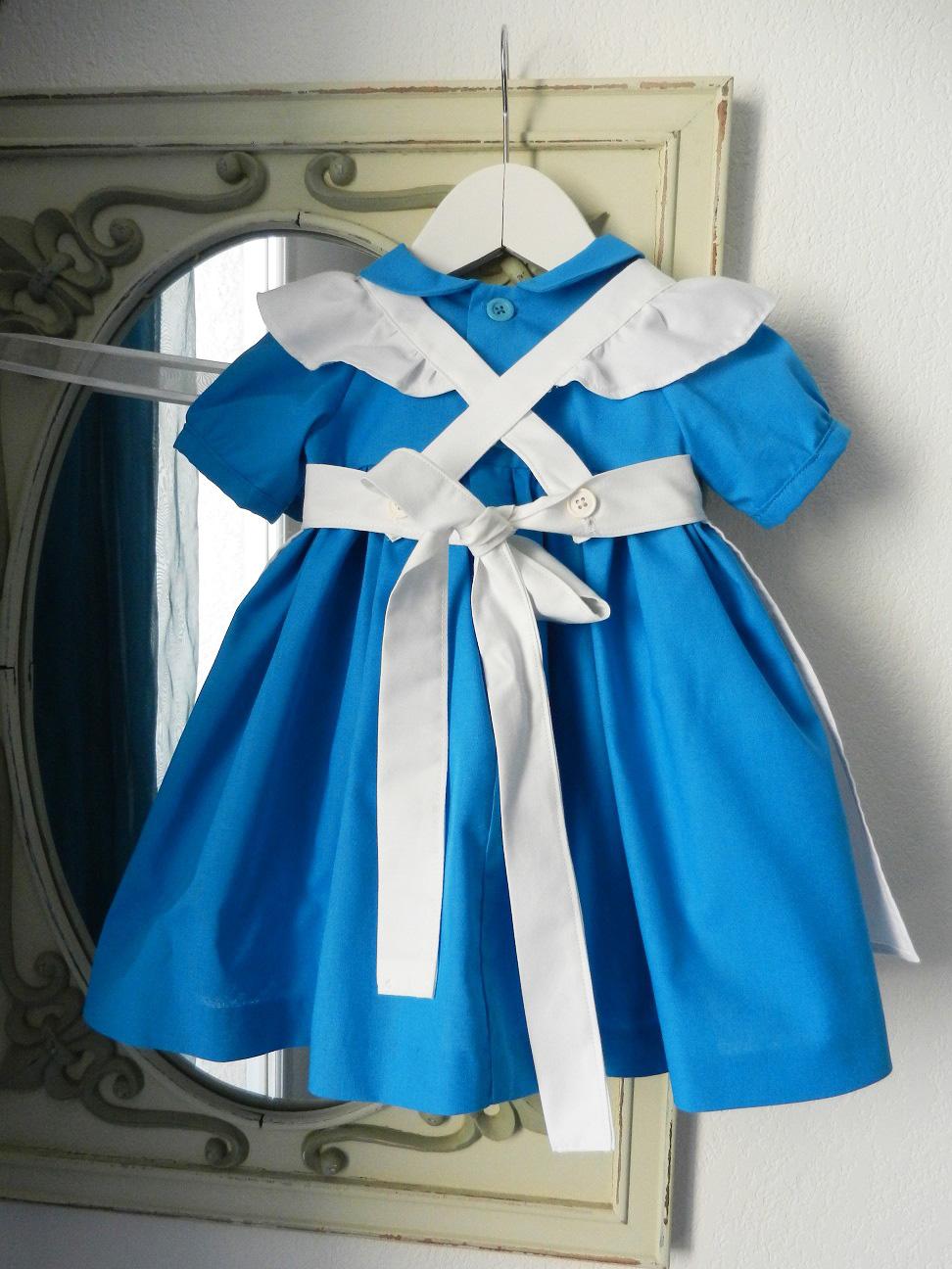 Duchesse or ange 190 robe bleue alice tablier blanc jupon blue dress white apron petticoat h
