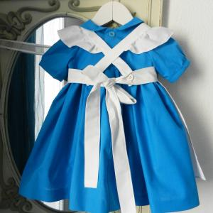 Duchesse or ange 190 robe bleue alice tablier blanc jupon blue dress white apron petticoat h